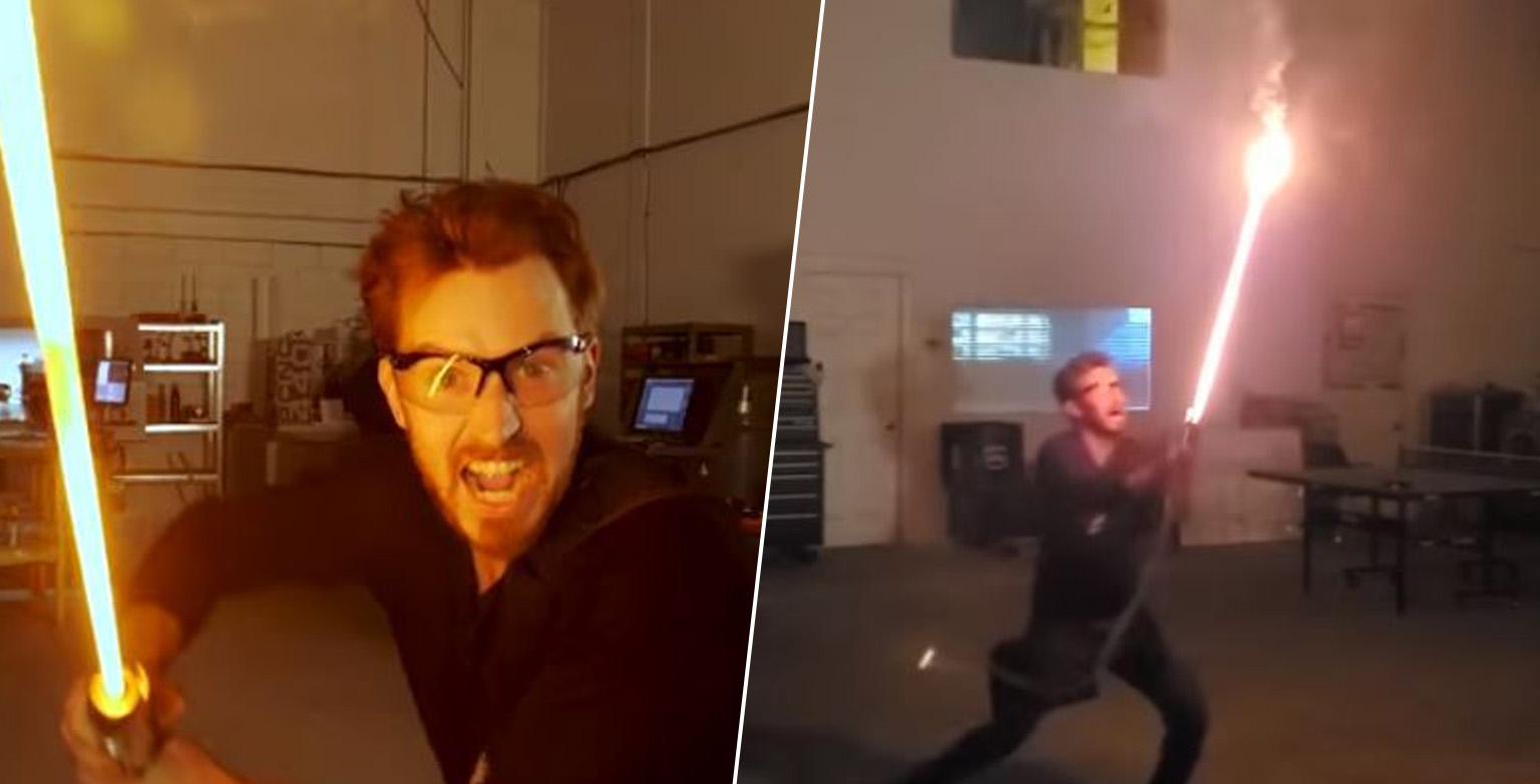 Guy Builds Star Wars Lightsaber In Garage And It Actually Works