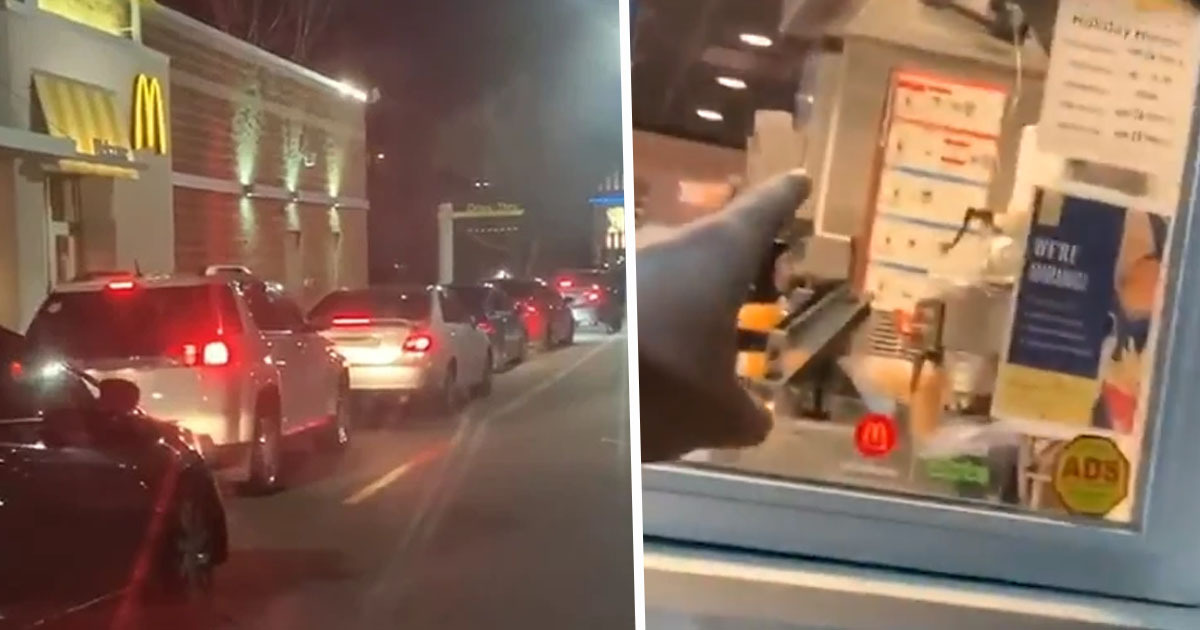 Drivers Queue For McDonald's Drive Thru On Christmas Day Not Realising It's Shut