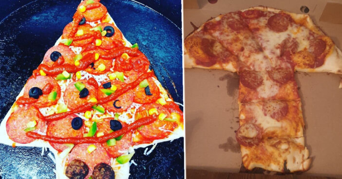 Mum Complains About Christmas Tree Shaped Pizza And It Hilariously Backfires
