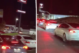 Tesla drivers in huge queue to charge their cars