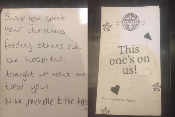 Receipt given to couple treated to free meal at pizza express