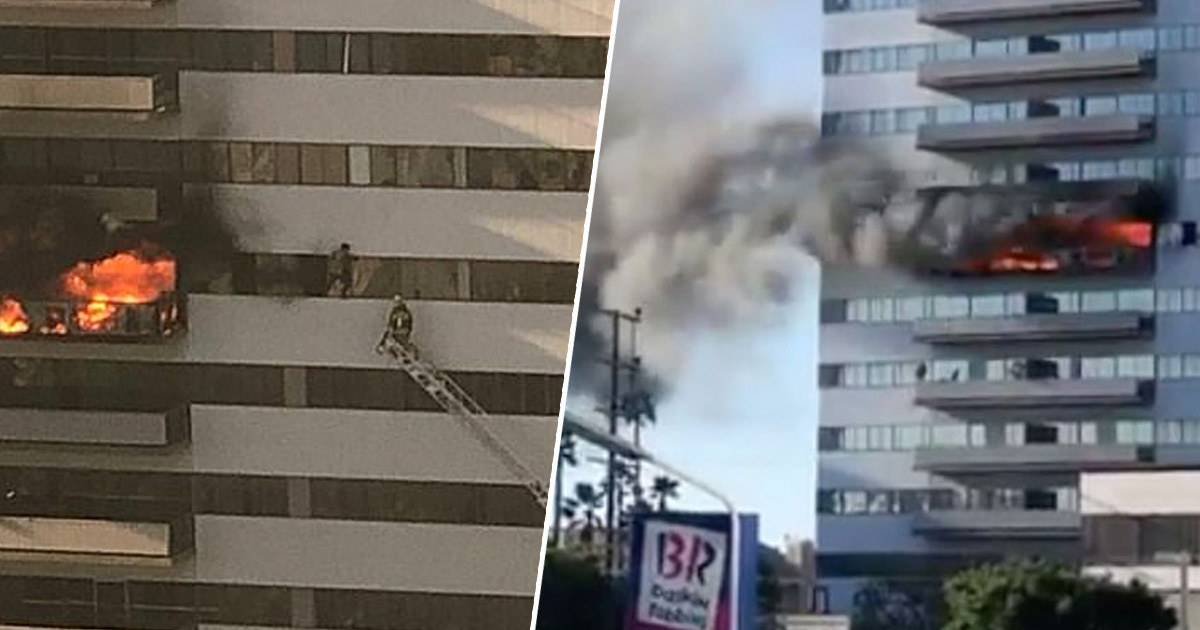 Residents of LA skyscraper forced to jump from burning building