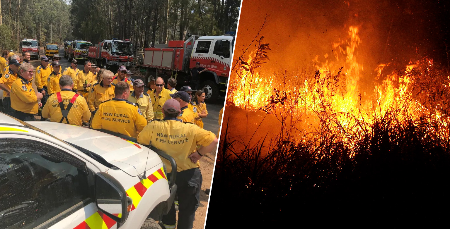 Australian Frontline Fire Crews Cheer As Canadian Team Arrives To Help Tackle Bushfires