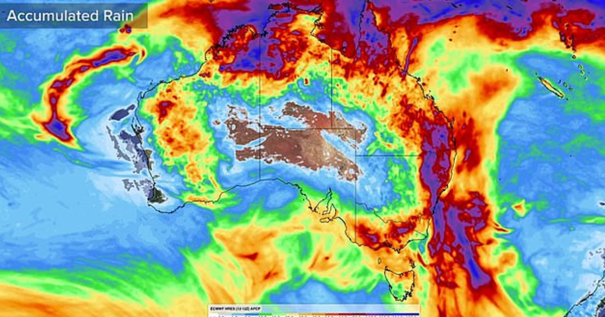 Incredible Map Shows Huge Rain Bomb Falling On Australia