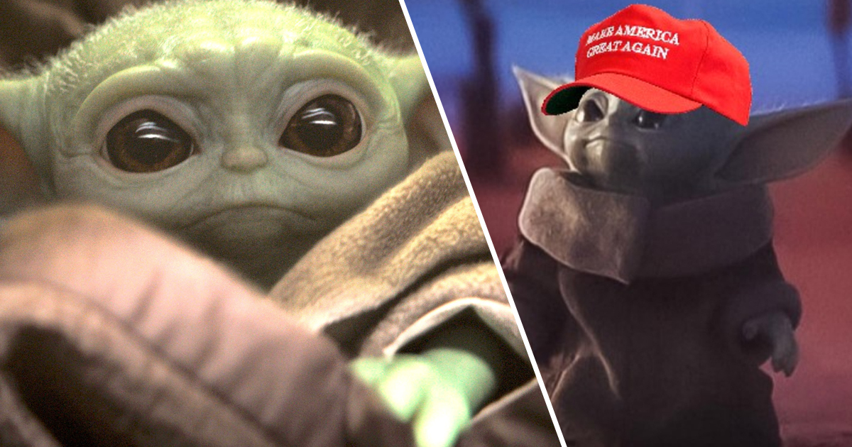 People have photoshopped a MAGA hat on to Baby Yoda