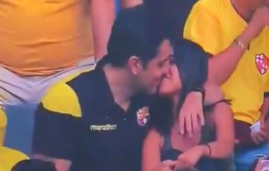 Man caught cheating on kiss cam