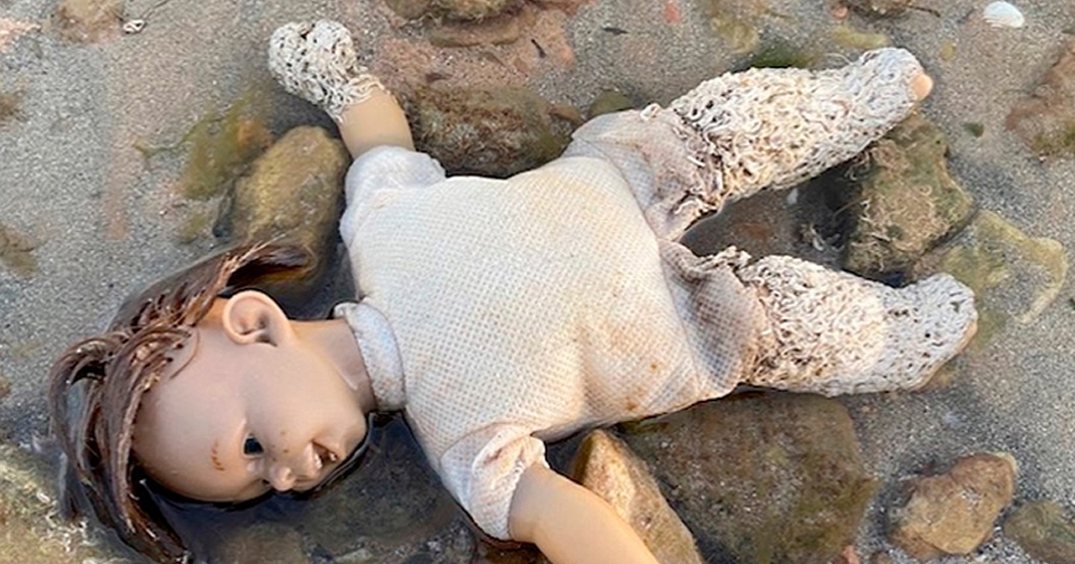 'Chucky' doll washed up with worms