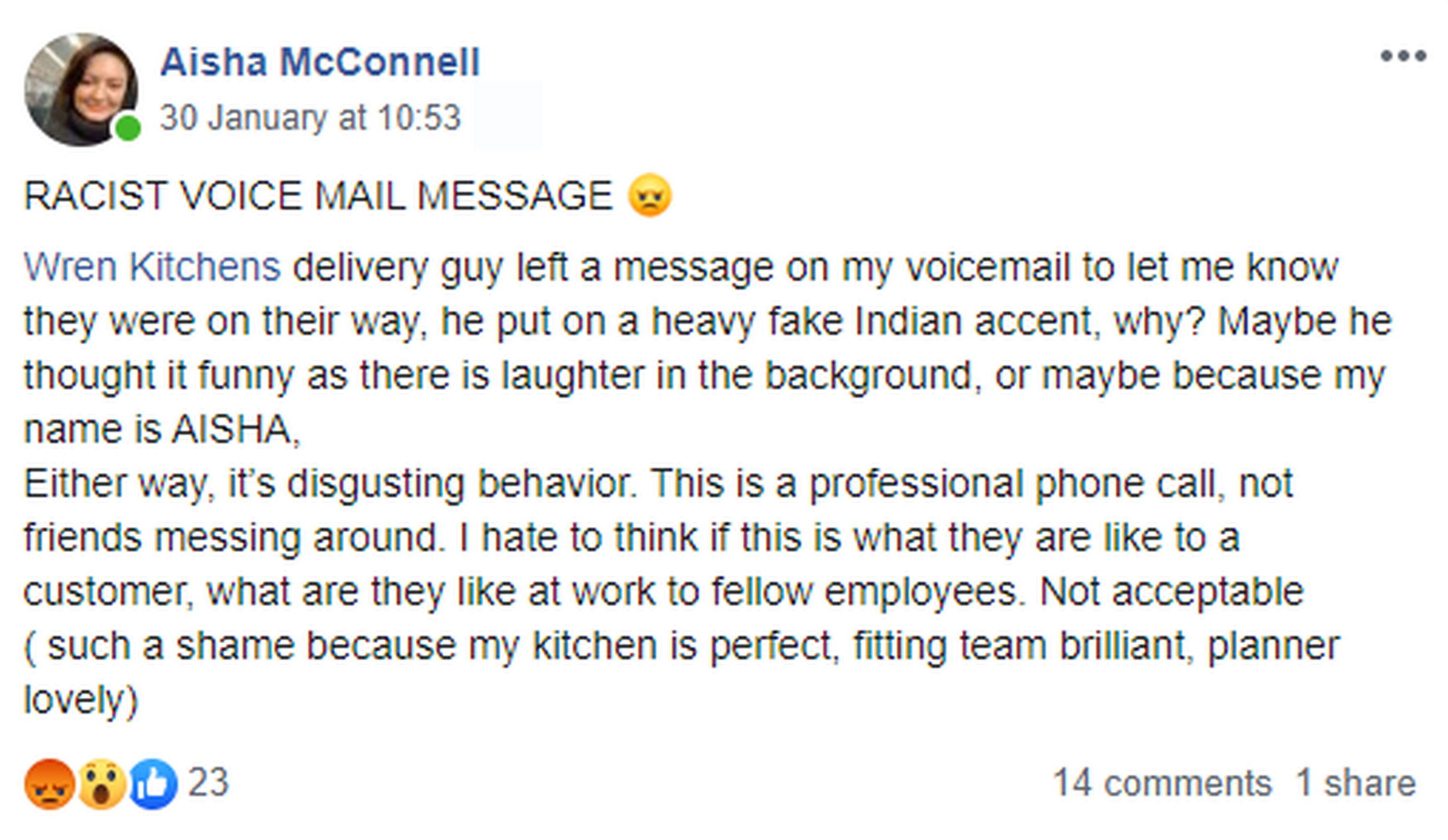 Facebook post from mum who believes she was left racism voicemail
