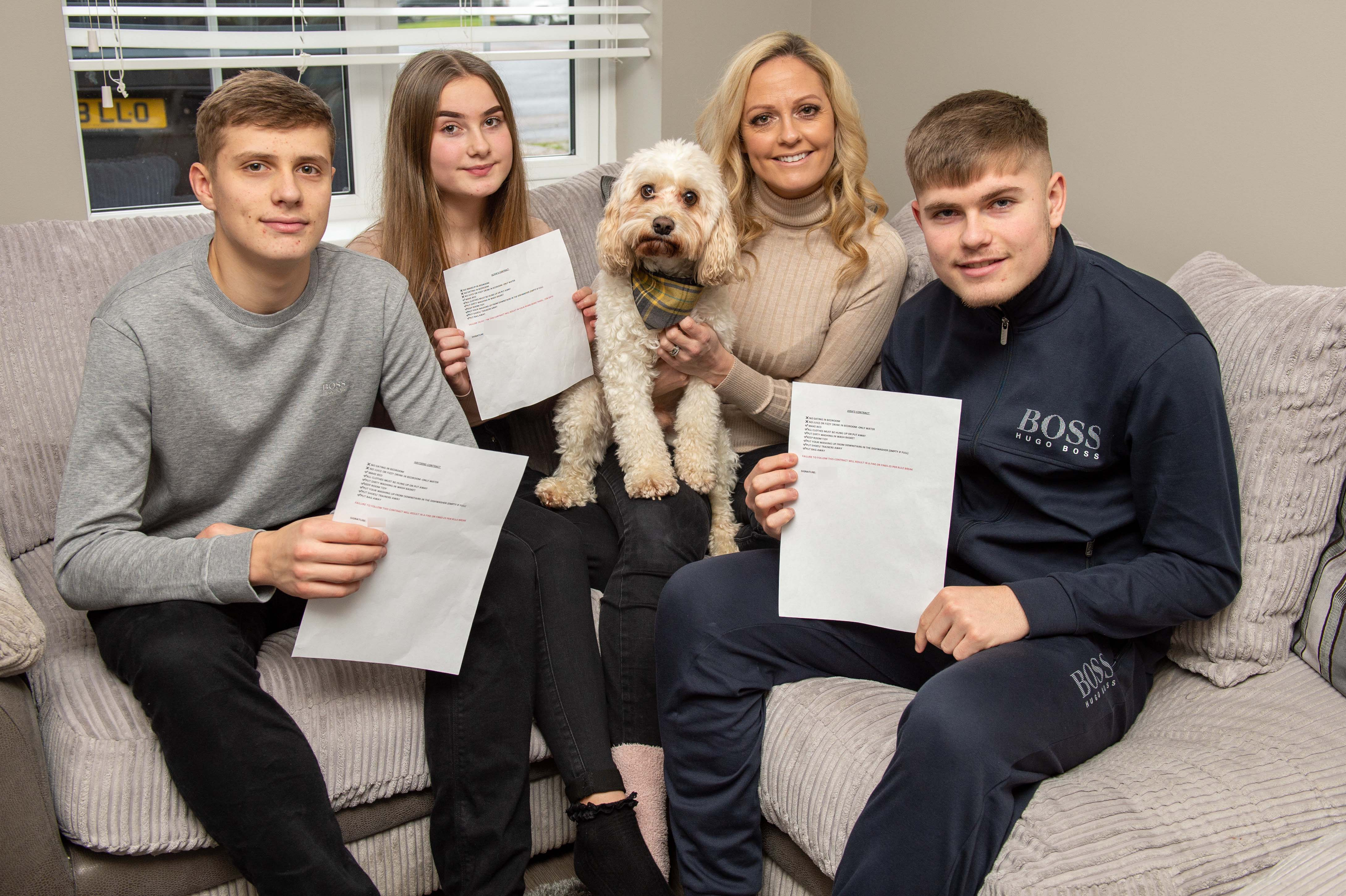 mum makes kids sign cleaning contracts