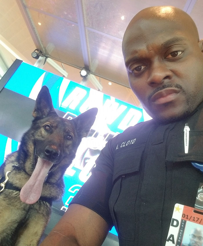 Woman Photographs Cop Taking Selfies With His Service Dog