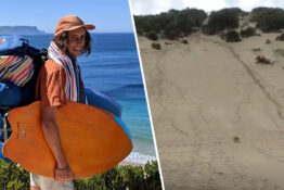 Daredevil Sandboarder Flies Down Massive Dune And Into The Sea