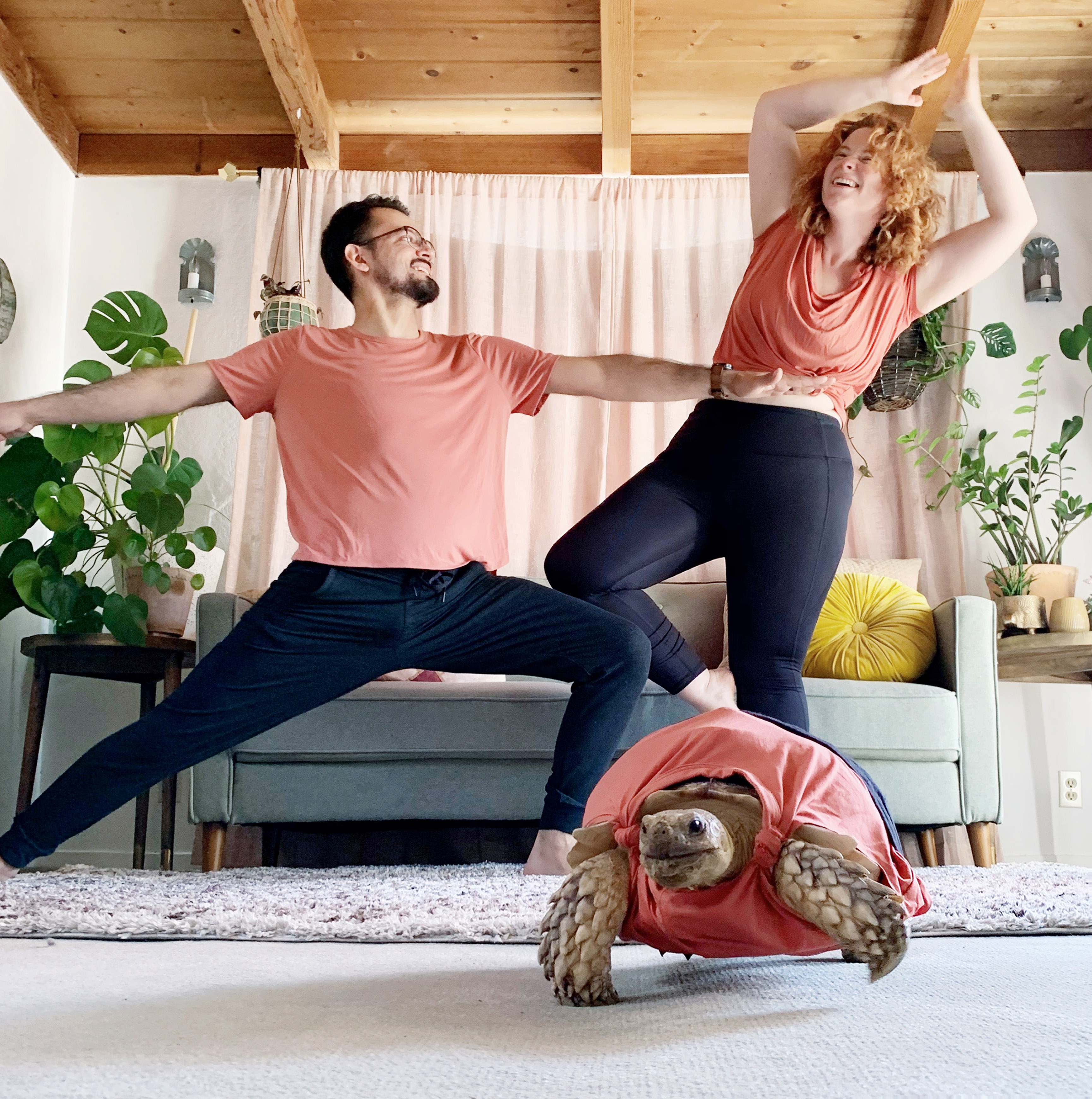 Couple create matching yoga outfit for their tortoise