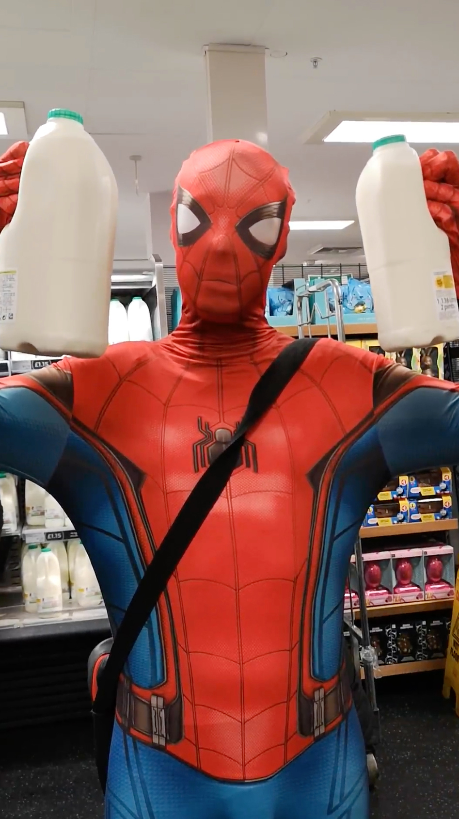 Man who dresses as Spider-Man does shopping for self-isolating people