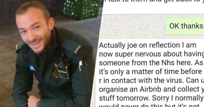 Brave NHS Paramedic Evicted By Text Because Landlady Thinks 'It's Not Worth The Risk'