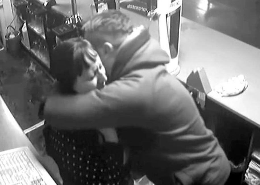 Attempted robber hugs bartender after she recognises his voice