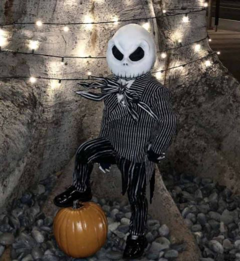 4-year-old dressed up in Jack Skellington cosplay