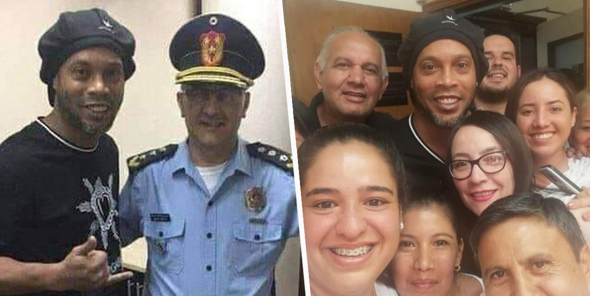 Ronaldinho Smiles For Selfies With Fans After Being Arrested In Paraguay