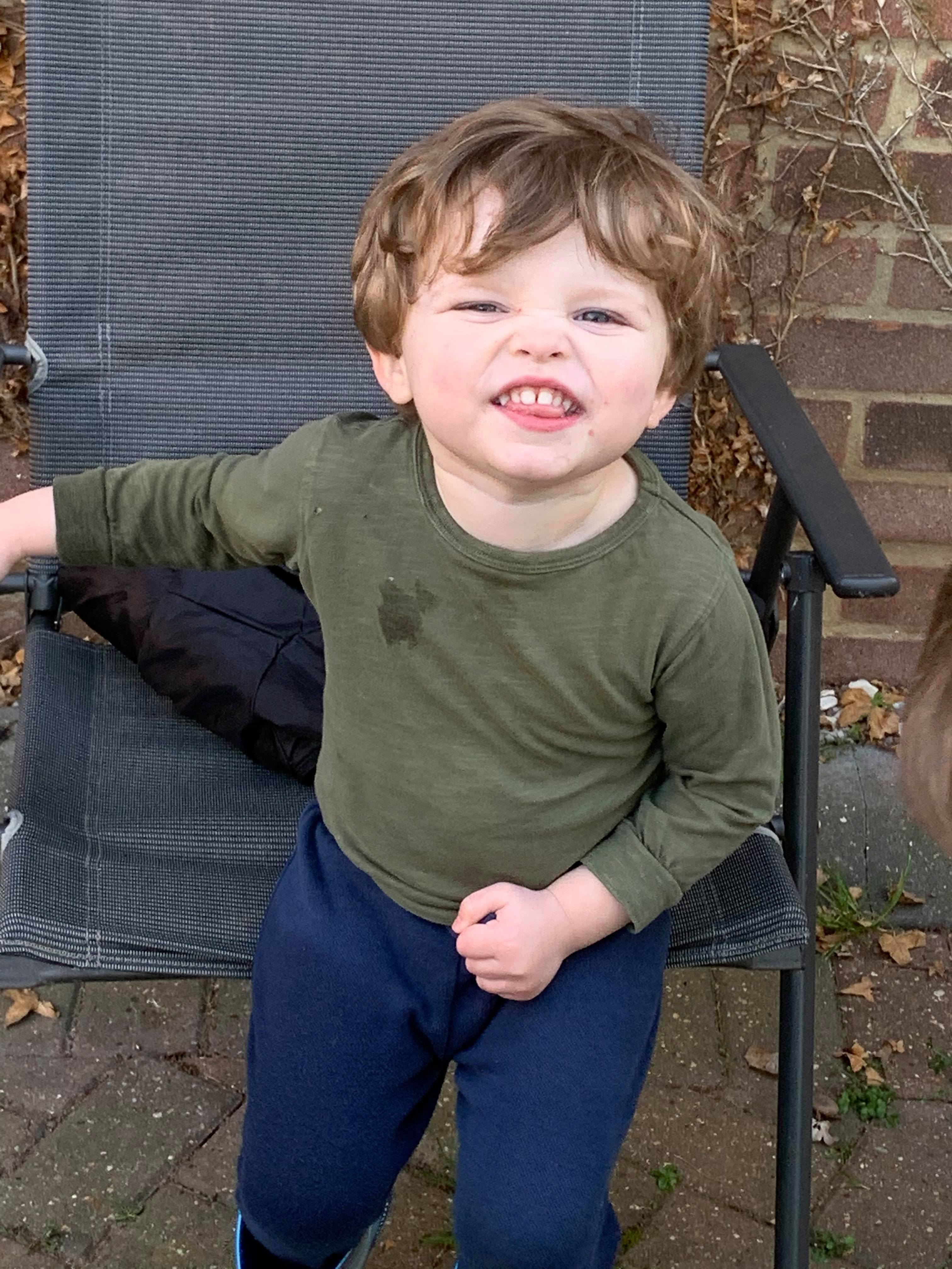 Mischievous toddler who took a bite out of all the Easter eggs