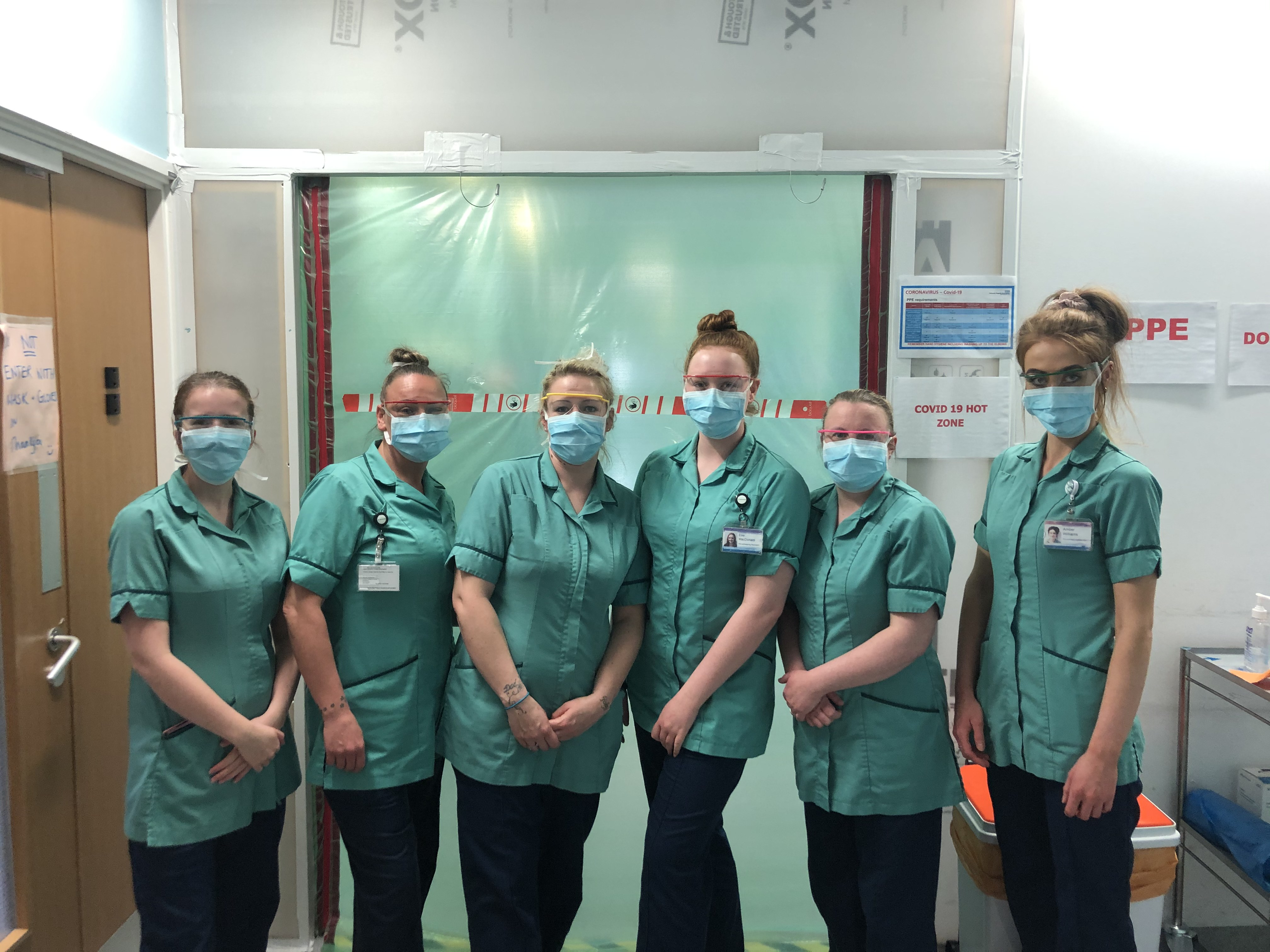 Teen who works as a cleaner in hospital and her coworkers