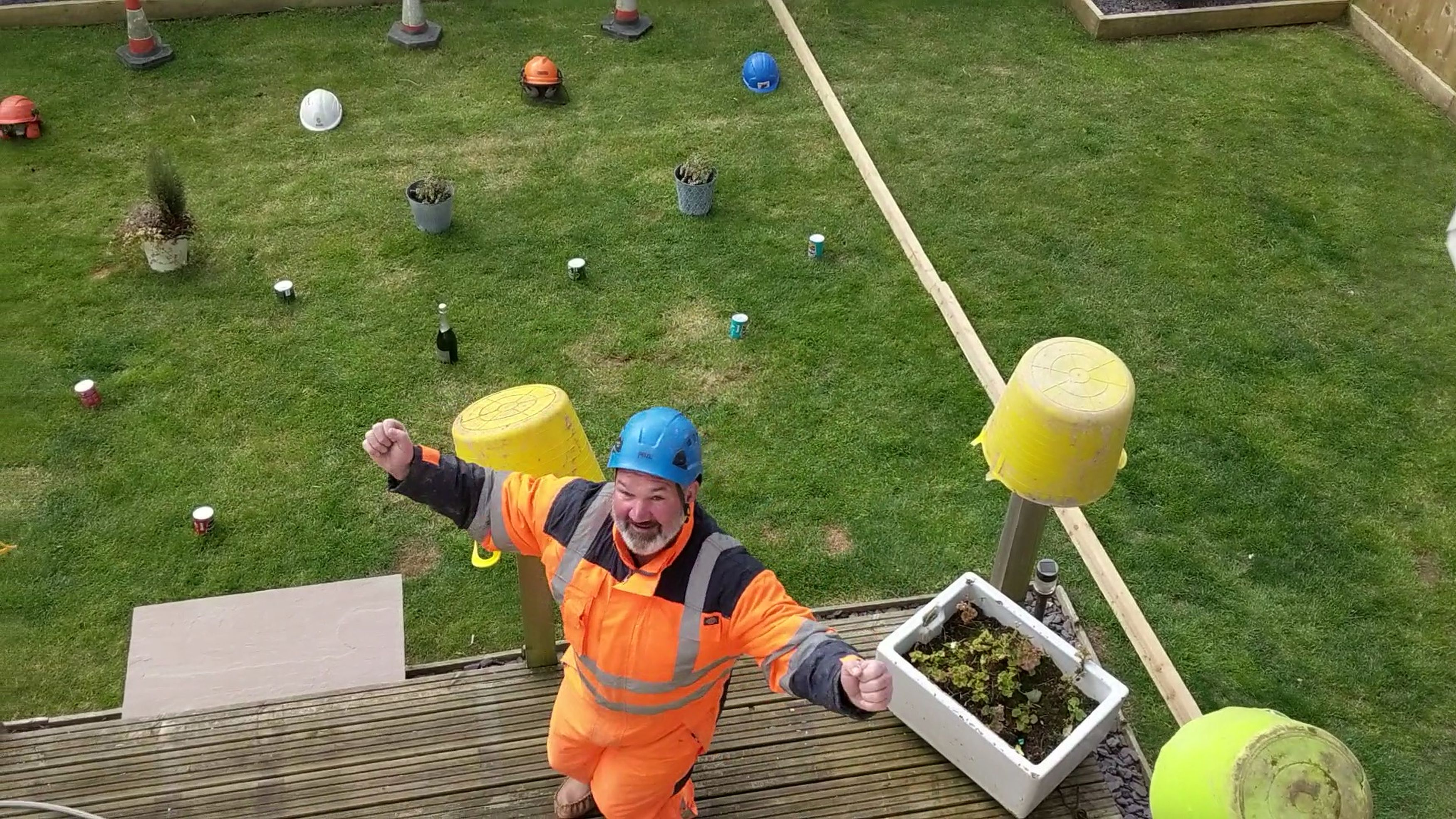Granddad celebrates playing Space Invaders in garden