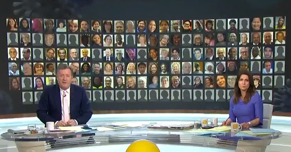 Good Morning Britain's Piers Morgan And Susanna Reid Pay Tribute To More Than 100 Workers Who Have Died On Frontline