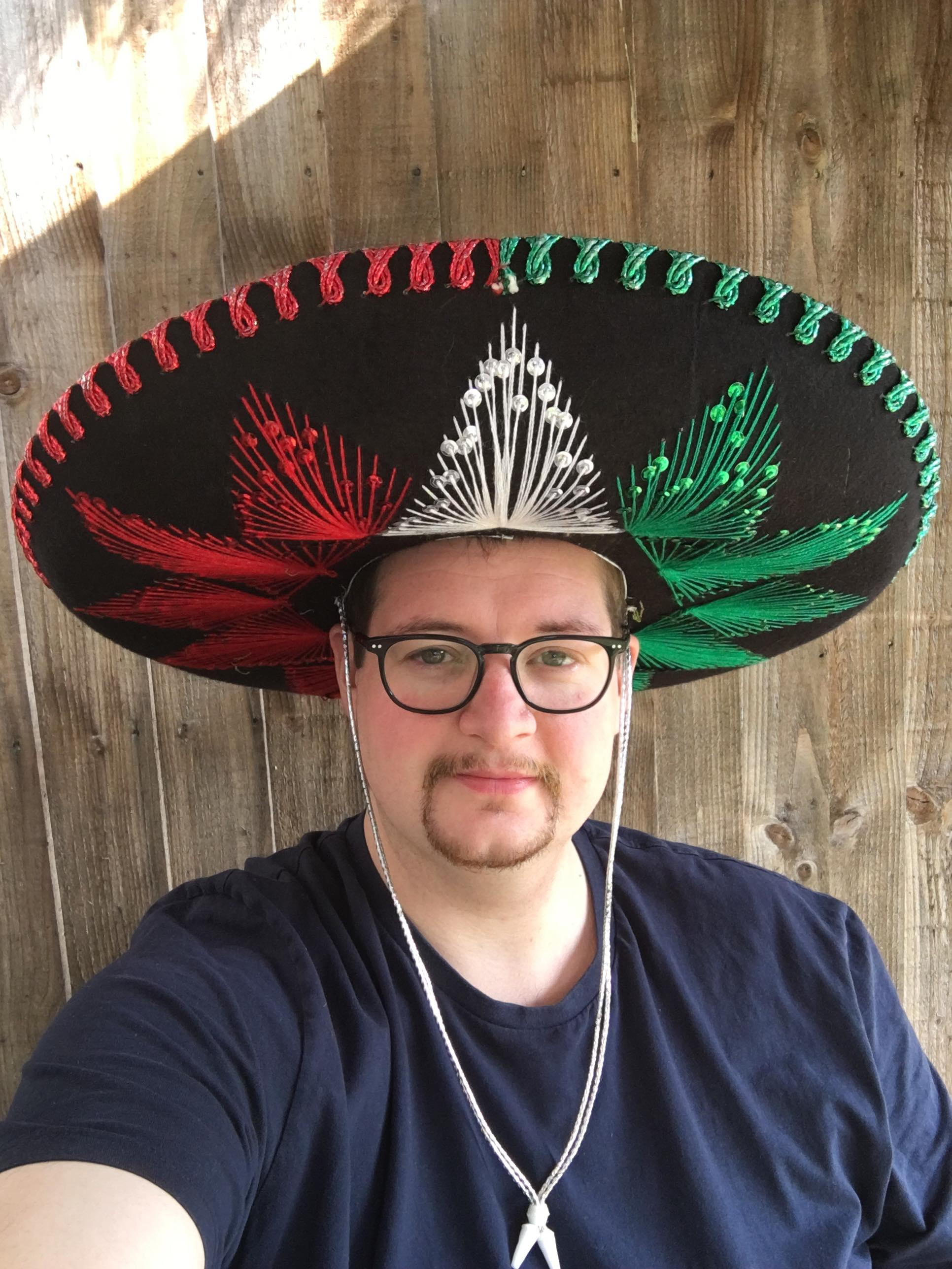 John Junior wearing a sombrero