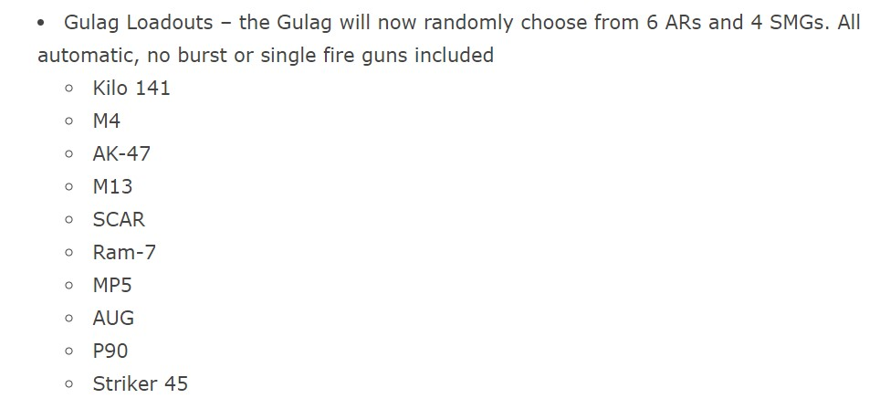 Call of Duty Warzone Gulag Loadouts