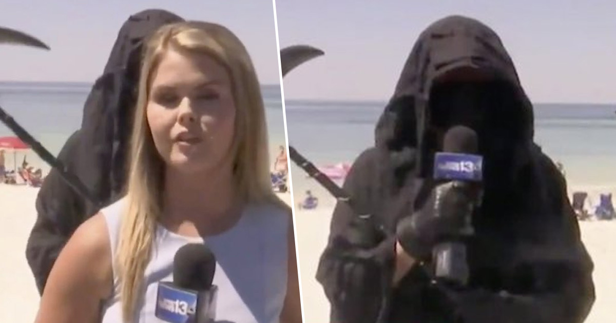Guy Dressed As Grim Reaper Goes On Live TV To Protest Florida Beaches Opening