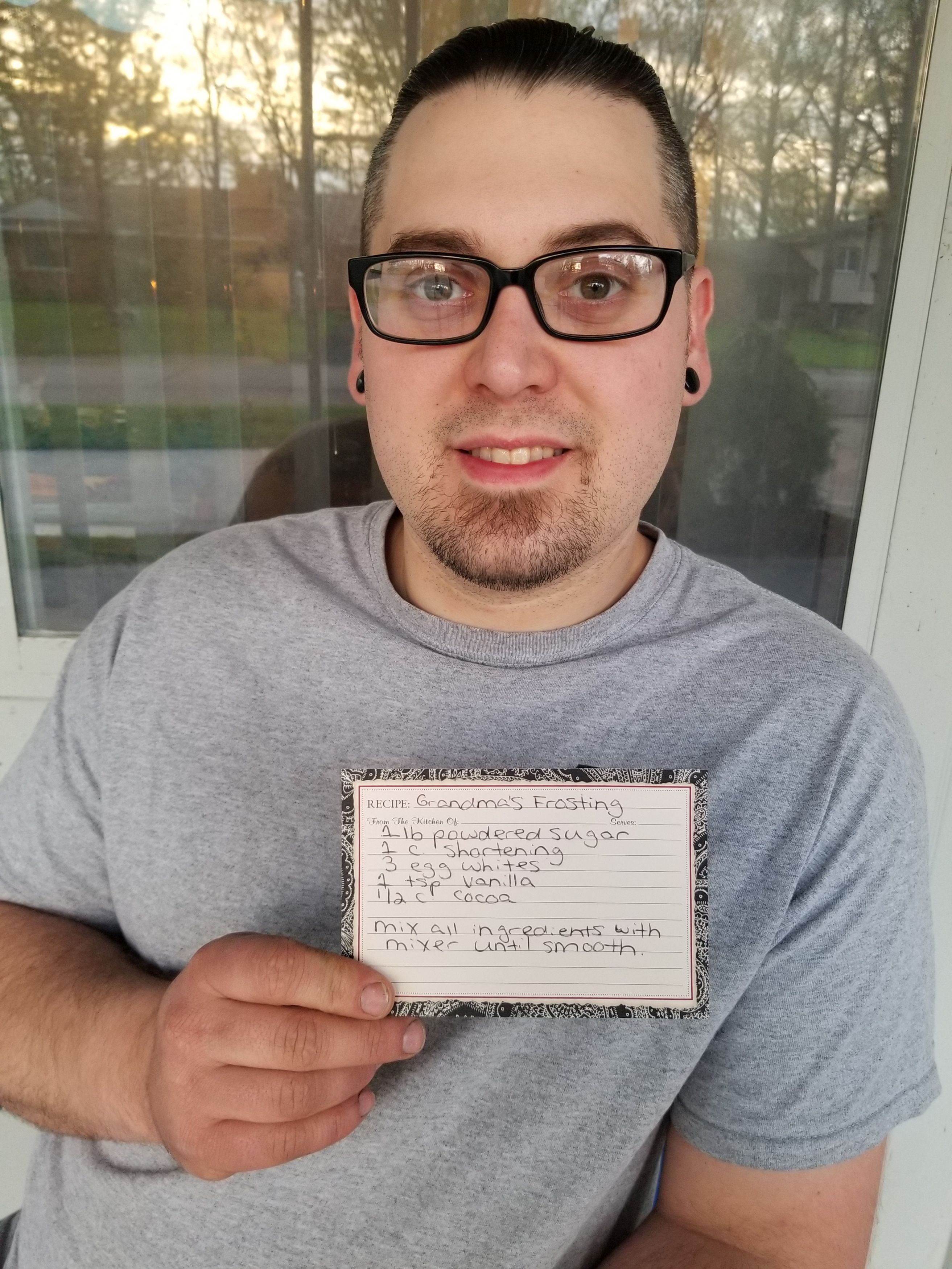 Andrew Paulson with recipe for chocolate frosting