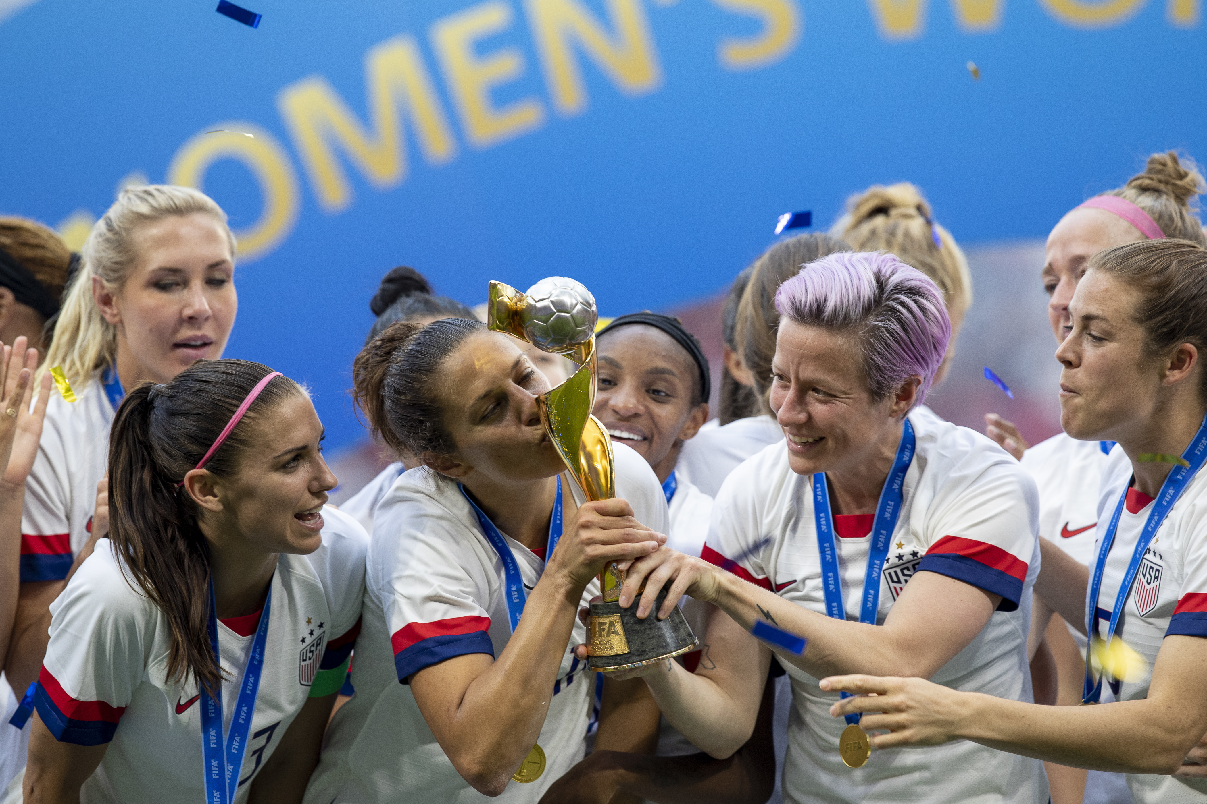 Megan Rapinoe, Carli Lloyd and Alex Morgan United States sealing commemorates after the United States win the 2019 FIFA Women's W Cup Cup Final,