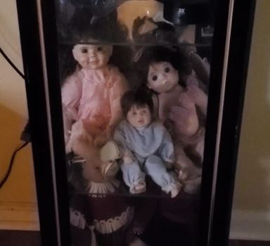 Doll swivels on shelf as man films
