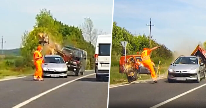 Road Worker Has Lucky Escape As Saw Flies Inches From Head
