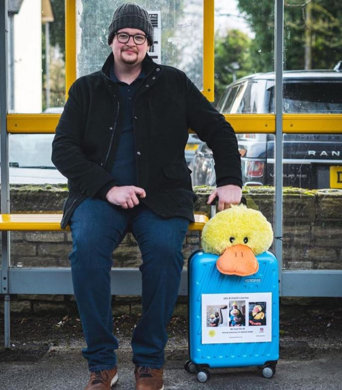 John and duck Charlie raising awareness for mental health
