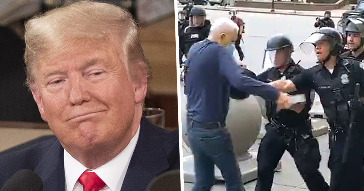 Trump Accuses 75-Year-Old Knocked Down By Police Of Faking Fall