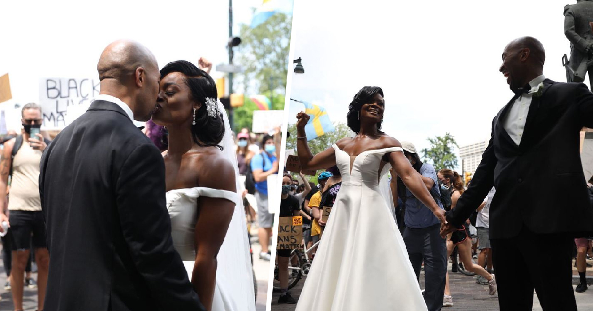 Newlywed Couple Joins Philadelphia Black Lives Matter Protest After Wedding
