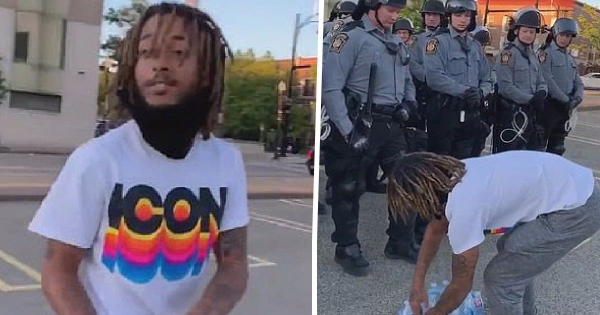 Heart-Warming Moment Protester, 23, Delivers Water To Riot Police At Pennsylvania Black Lives Matter Demonstration