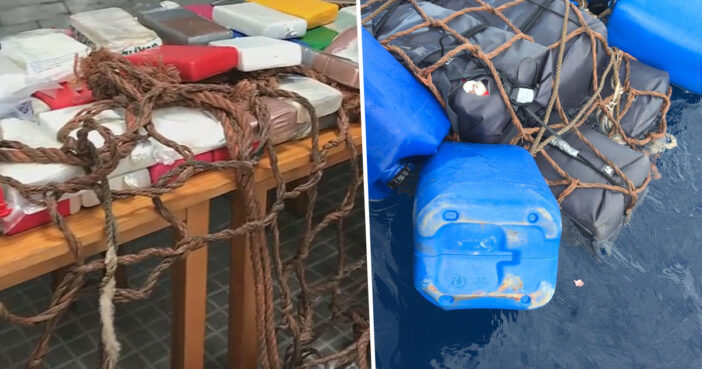Spanish police officers have uncovered 145 kilograms (320lbs) of cocaine floating in the sea off the coast of Ibiza.