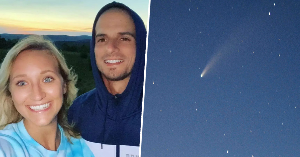 Couple Engaged Under Comet