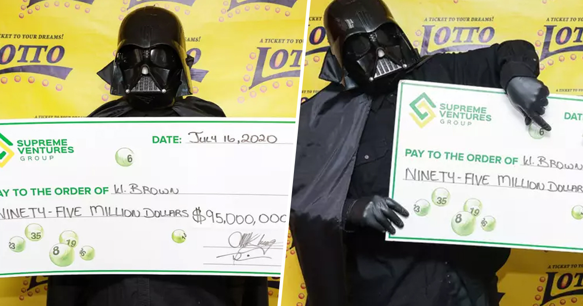 Lottery Winner Dresses As Darth Vader To Collect $95 Million Jackpot To Hide His Identity