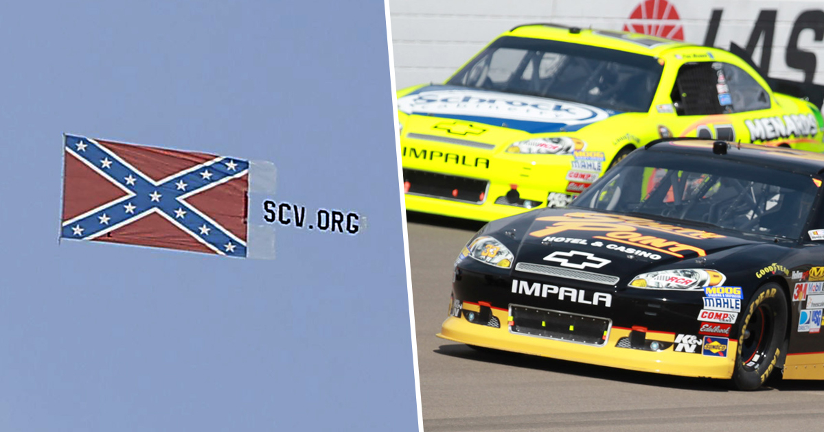 Confederate Flag Banner Flies Over NASCAR Track For Second Time Following Ban
