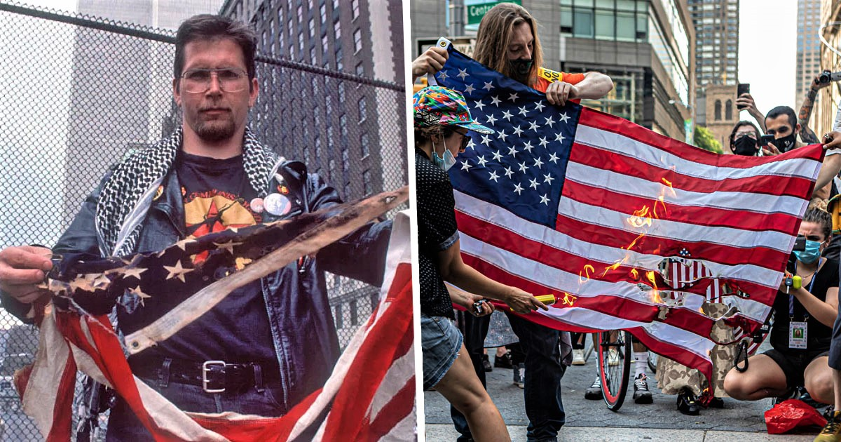 Activist Who Won Right to Burn American Flag Burns 3 Flags In Trump Protest
