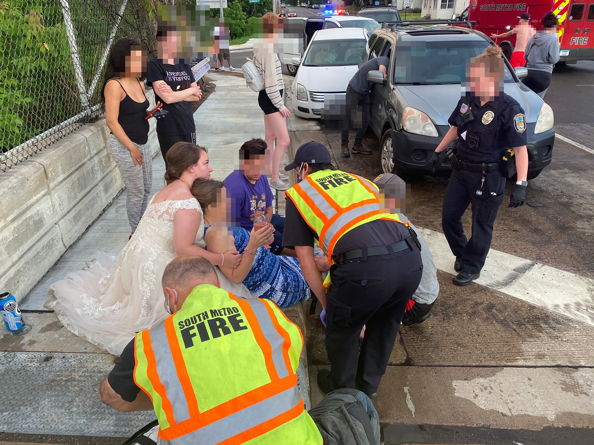 bride helps car crash victim