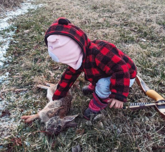 2-year-old stood over dead rabbit