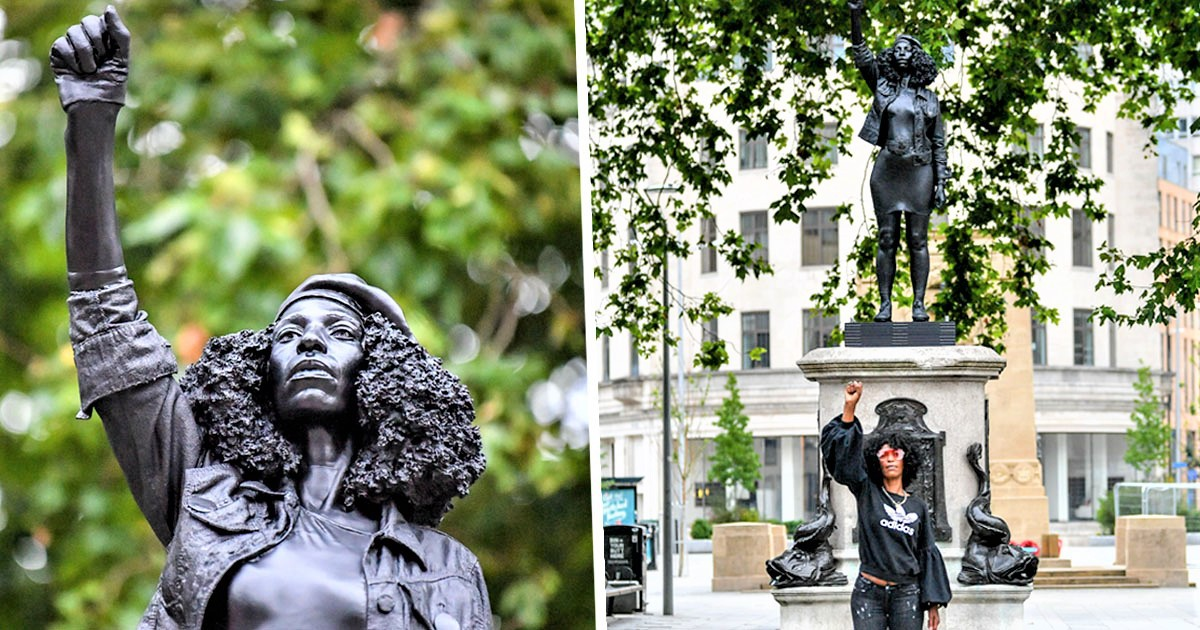 Black Lives Matter Protester Replaces Torn Down Slave Trader Edward Colston Statue In Bristol