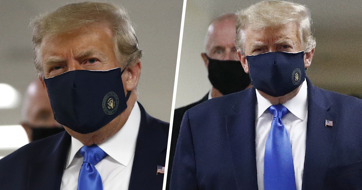 Trump Wears Face Mask In Public For First Time As Coronavirus Cases Surge Across US