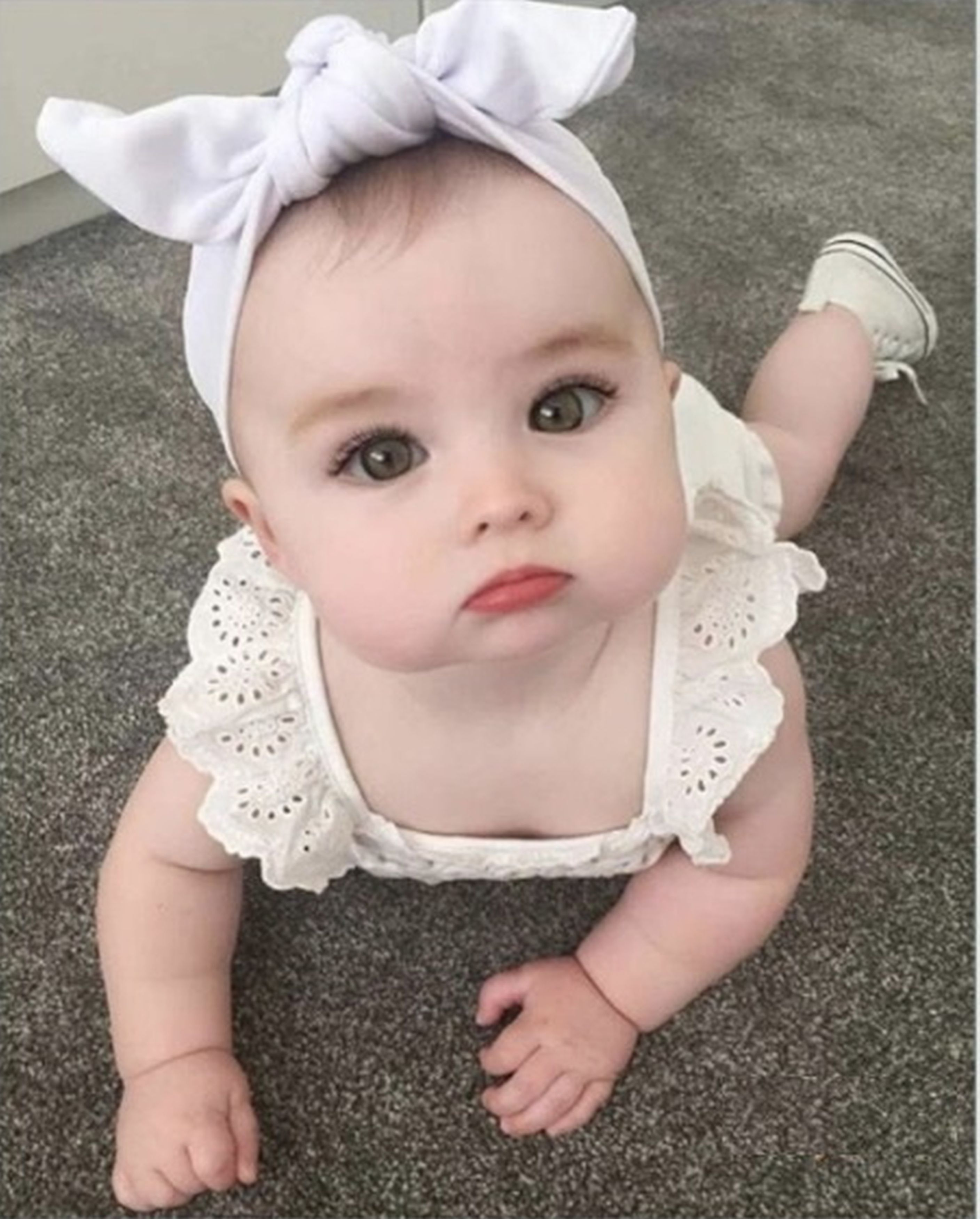 Baby edited to look like she's wearing makeup