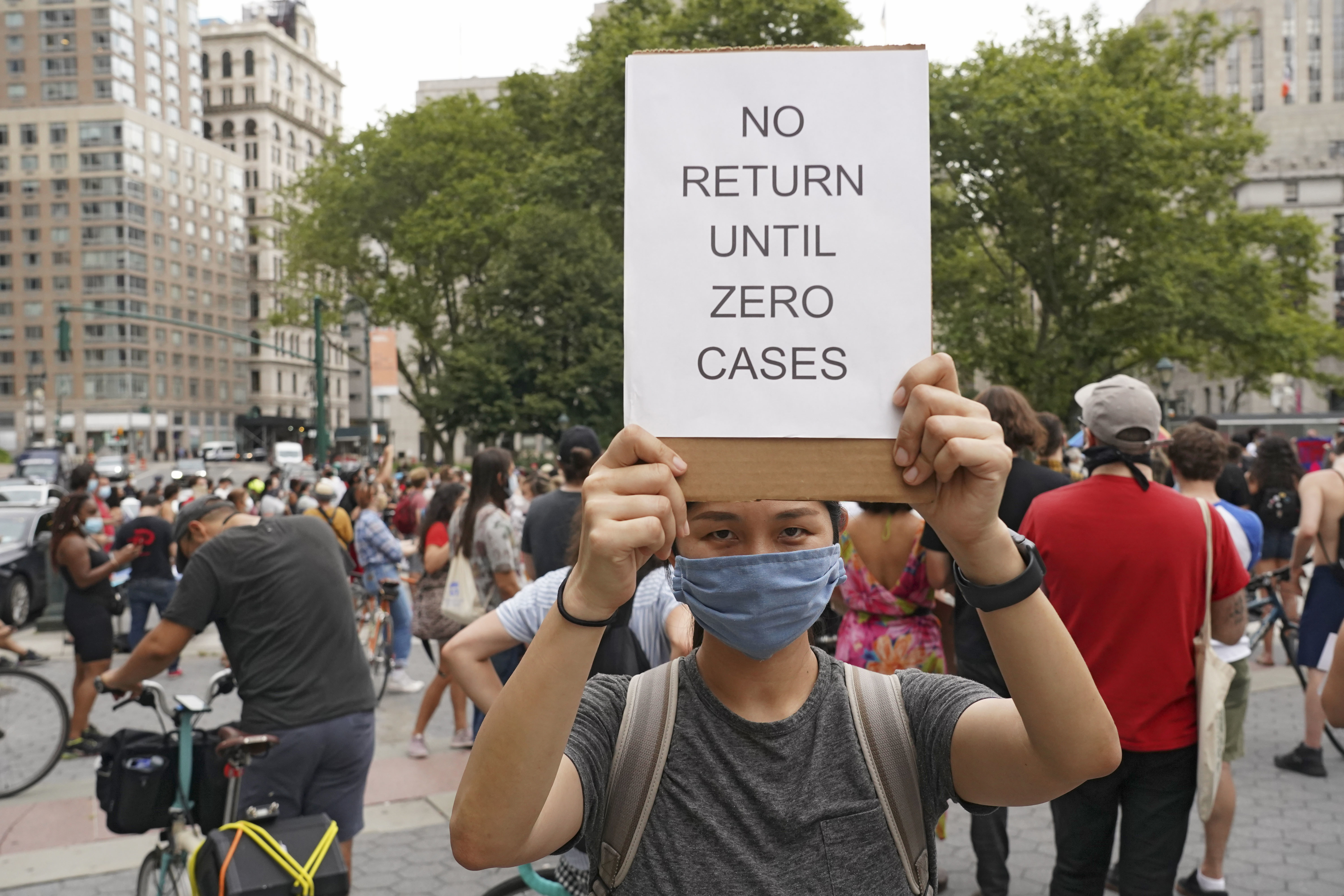 Protest against reopening of schools in New York, US - 03 Aug 2020