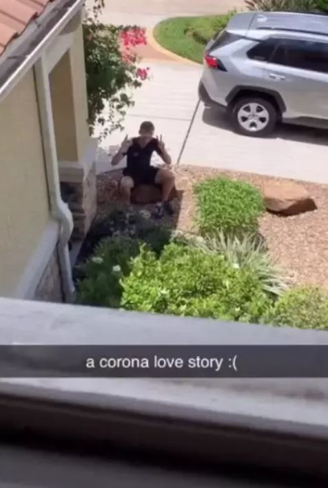 Teen Sits Outside Girlfriend's House Every Day As She Recovers From Coronavirus