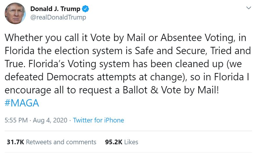 donald trump tweets about mail-in voting