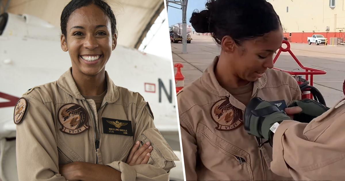 US Navy's First Black Female Tactical Jet Pilot Awarded Wings Of Gold
